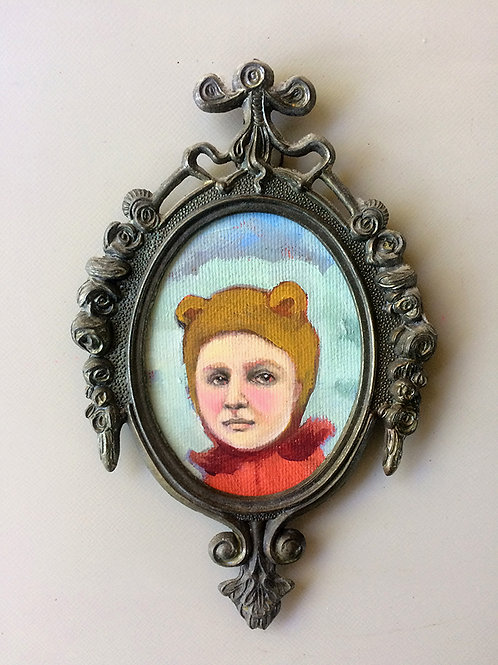 """Bear Baby"" Mini Original Oil Painting in Ornate Frame 4x6"