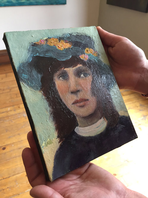 """The Blue Hat "" Mini Original Oil Painting 6x8 with Gallery Wrap"