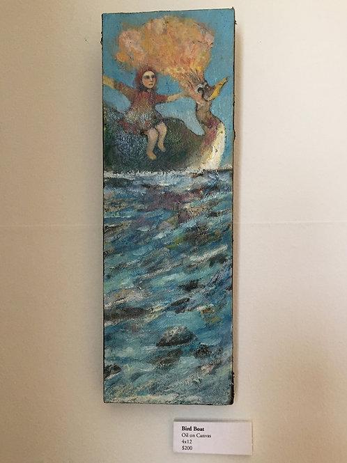 """Bird Boat"" Mini Original Oil Painting 4x12"