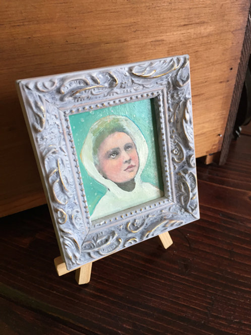 """Portrait in the Snow"" Mini Original Oil Painting in Ornate Frame 4x4.5"