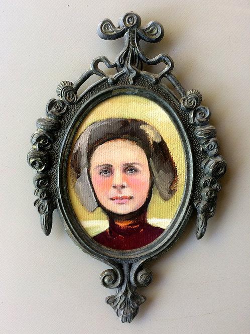 """Goat Girl"" Mini Original Oil Painting in Ornat"