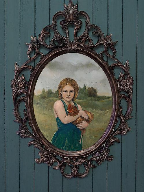 """""""Farm Girl"""" Framed limited edition giclée 15x20"""