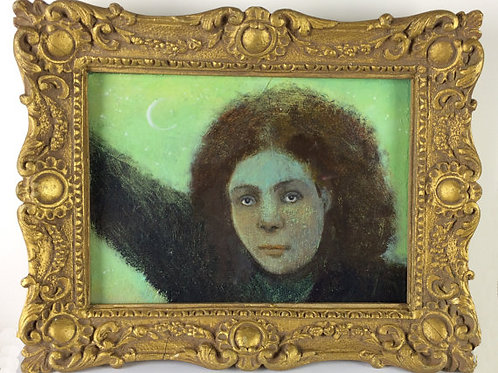 """Moonlight"" Mini Original Oil Painting in Ornate Frame 7x9"""