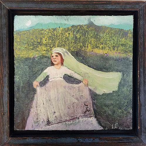 """Maiden Voyage"" Mini Original Oil Painting 7x7 framed"