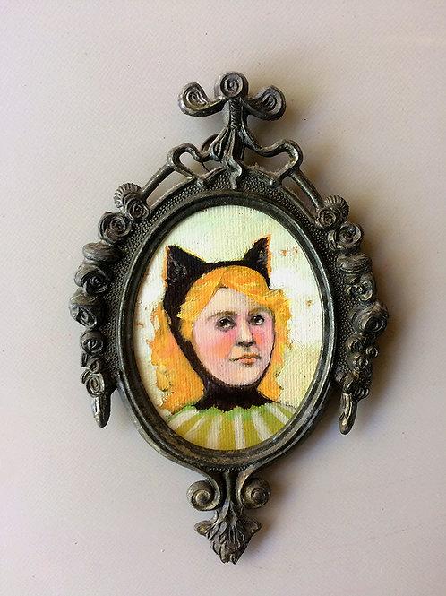 """""""Kitten Kid"""" Mini Original Oil Painting in Ornate Fr"""