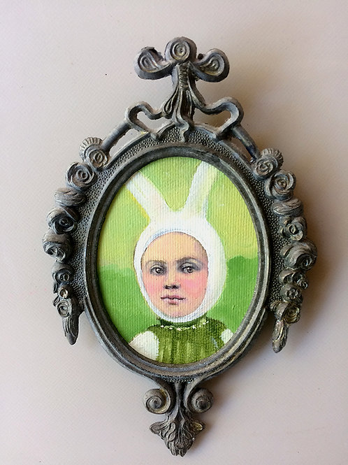 """Bunny Baby"" Mini Original Oil Painting in Ornate Frame 4x6"