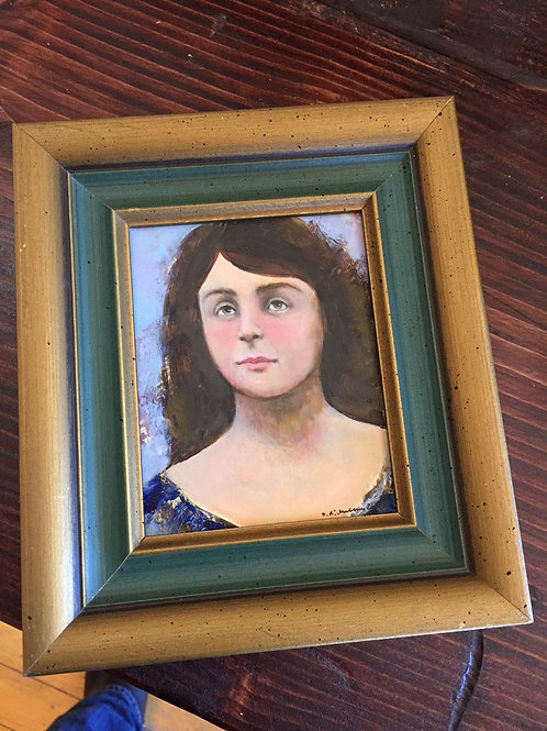 """Portrait for Fall"" Mini Original Oil Painting in Ornate Frame"