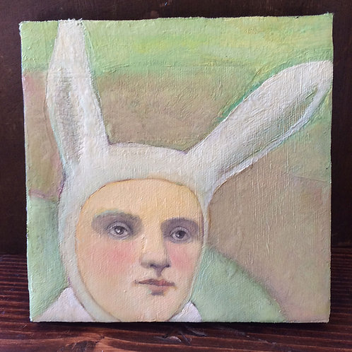 """Portrait as the Rabbit"" Mini Original Oil Painting"