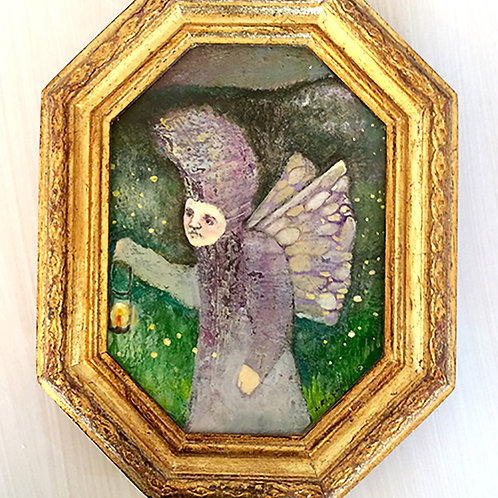 """The Firefly Summit"" Mini Original Oil Painting in ornate 7x9 Frame"