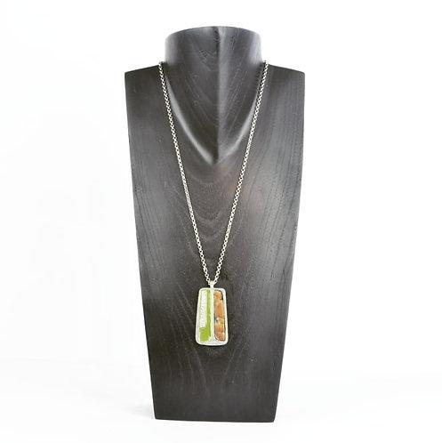 Pendentif Fourrure & Vert d'olive
