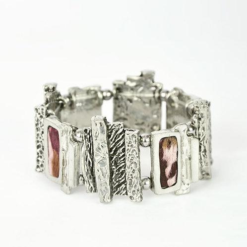 Bracelet fourrure rosée
