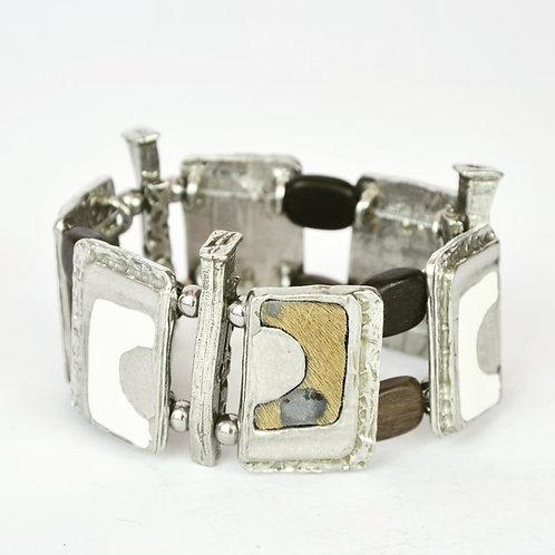 Bracelet Blanc Cassé & Fourrure