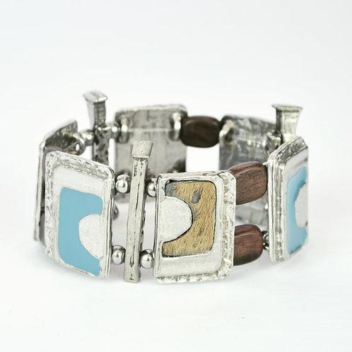Bracelet Bleu Acier & Fourrure
