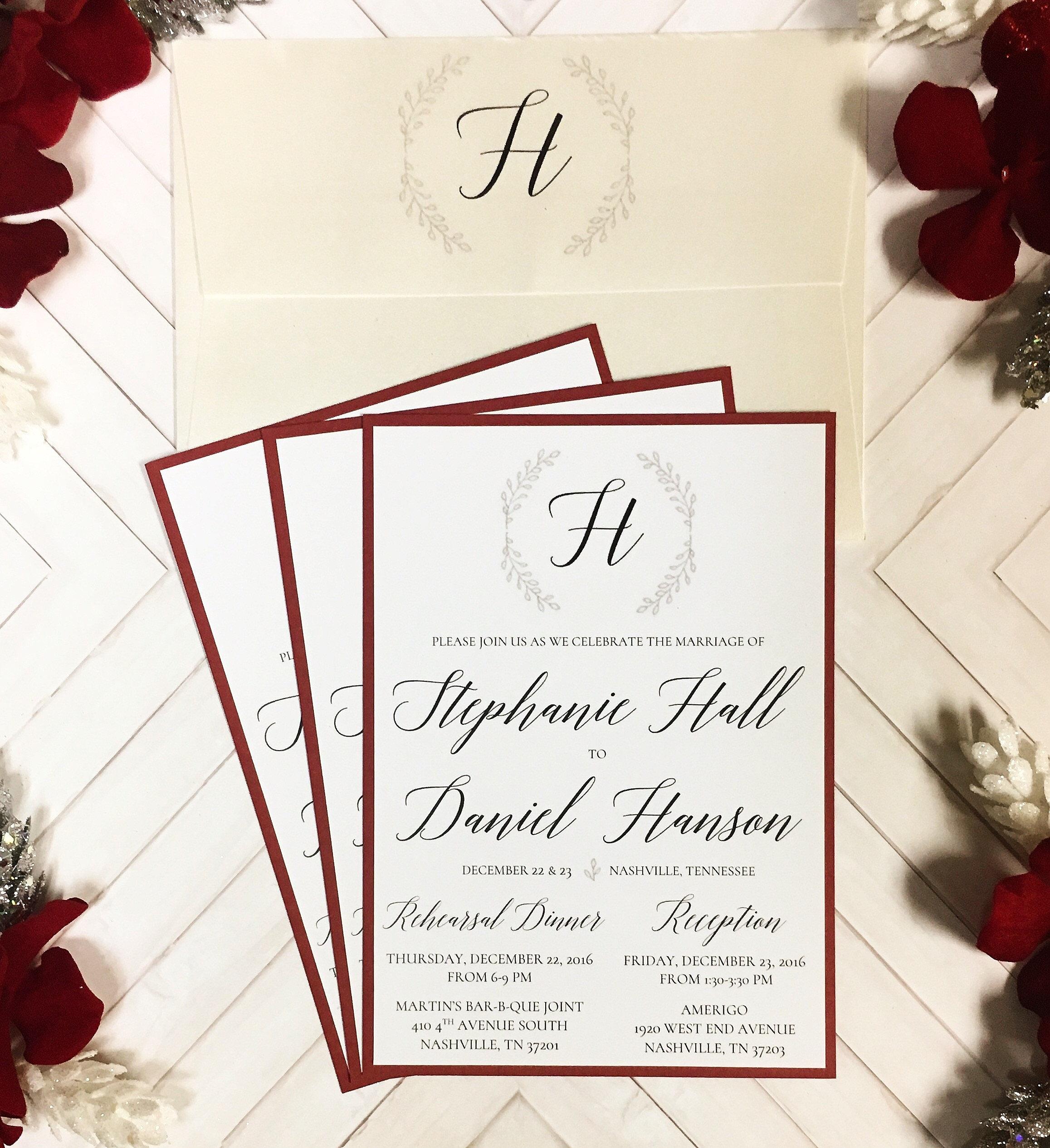 lbucklandpaperie | Silver & Scarlet Winter Wedding Invitation Set