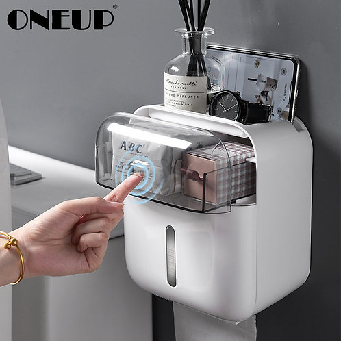 ONEUP Waterproof Toilet Paper Holder Dispenser Home Bathroom Storage Box