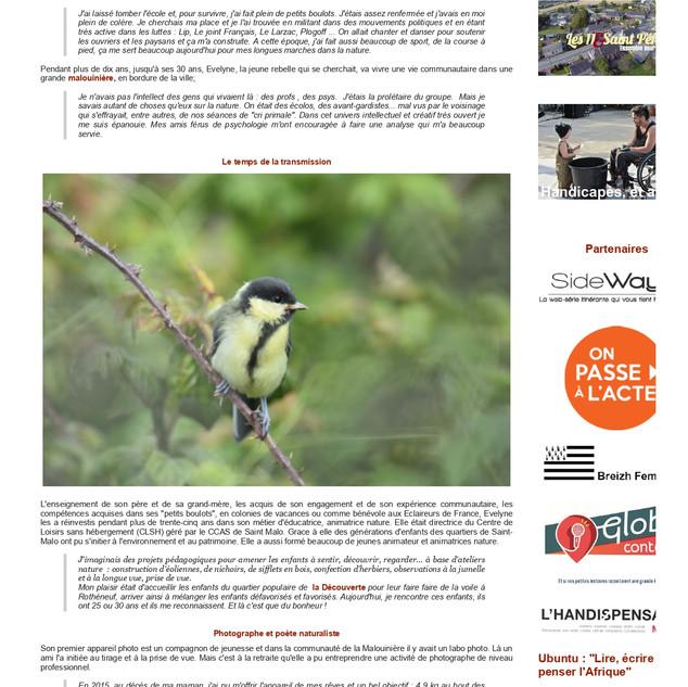 Evelyne transmet sa connaissance des oiseaux et des insectes