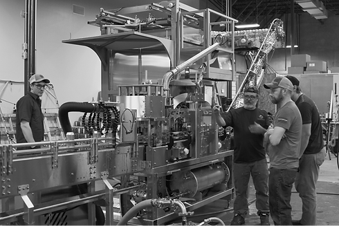 a canning line used for brewery packaging