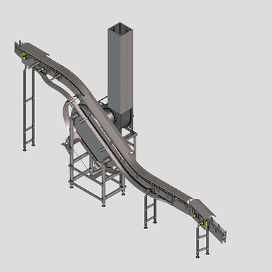 The Vacuum Loop Lowerator offers a touch-less  way to  rinse and move cans through elevation changes on high speed canning lines.