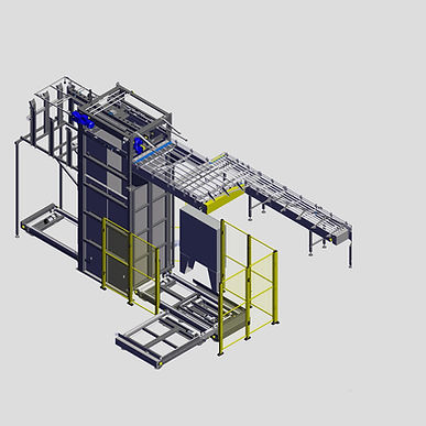 Our ultimate Depalletizer is built for high speed canning lines. It offers improved safety features and larger staging areas for multiple pallets.
