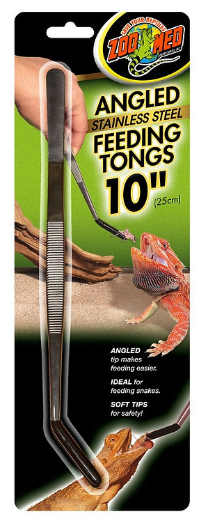 """Zoo Med  Angled Stainless Steel Tongs 10"""""""