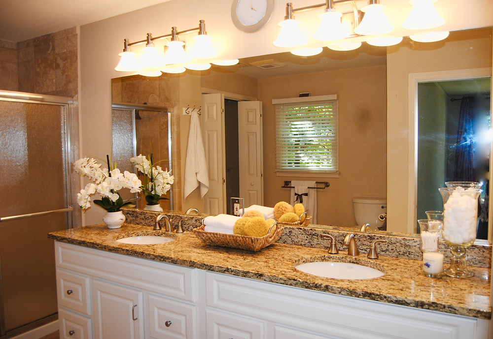 Use spa-style accessories when staging a bathroom