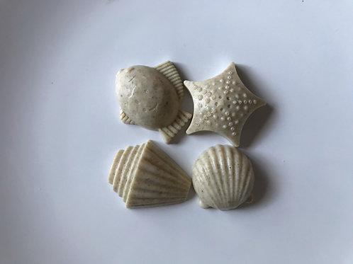 Lavender Oatmeal & Honey Goat Milk Seashells Soap - Dye Free - Fragrance Free