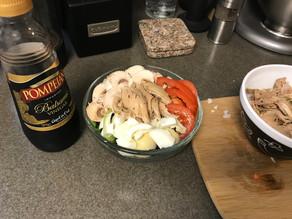 Fresh Veggie and Shredded Chicken Salad