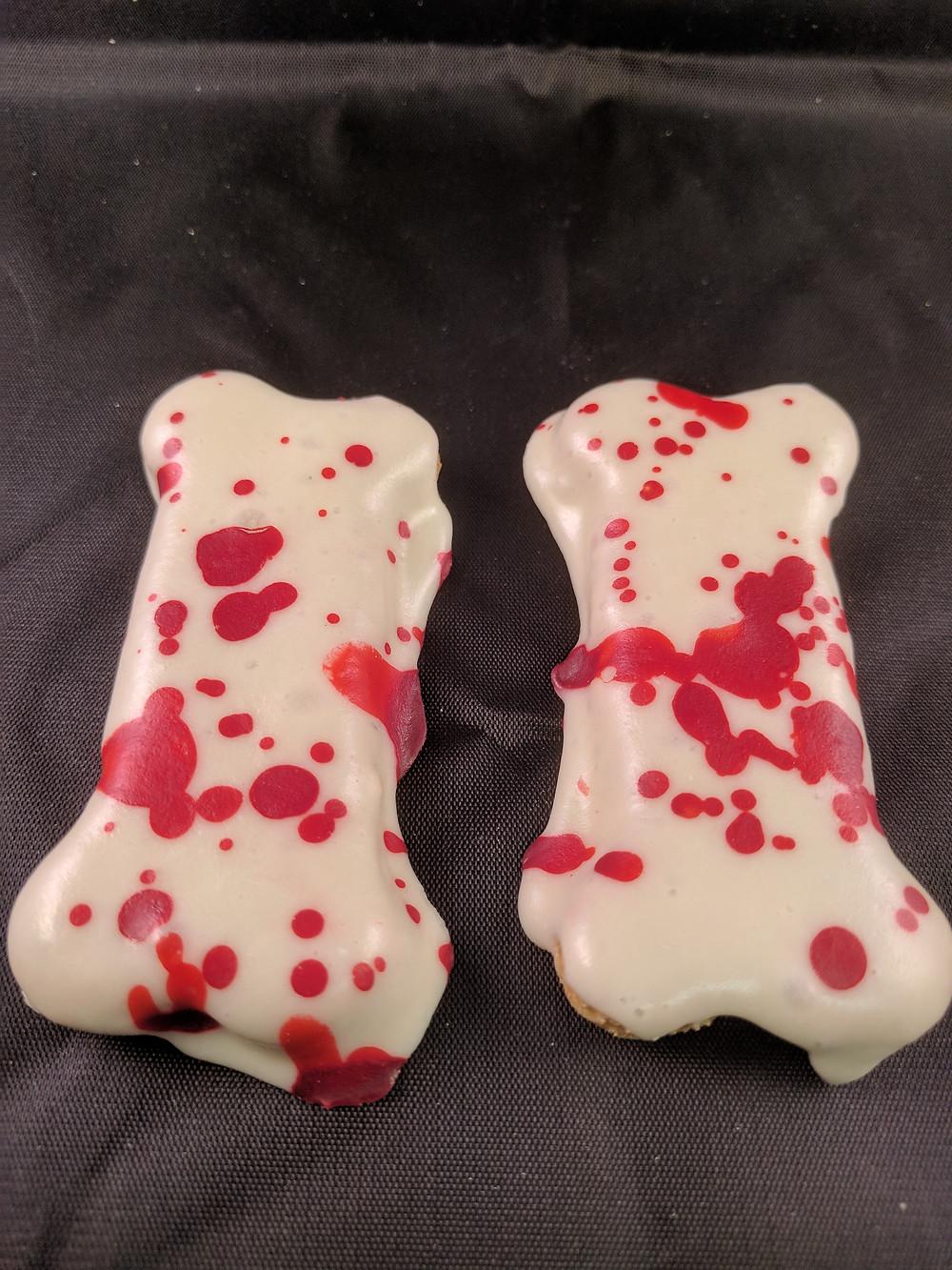 Freaky Blood Splattered Bones Dog Treat