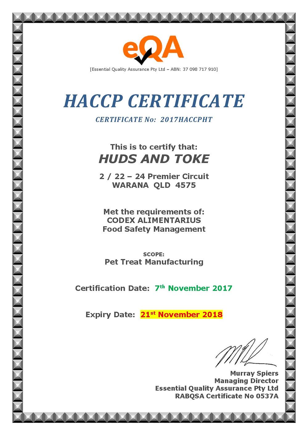 Huds and Toke Pet Treats HACCP Certificate