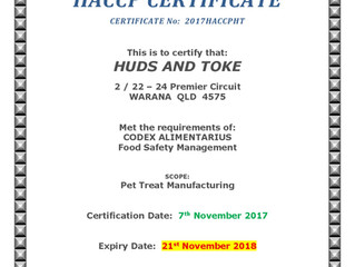 Huds and Toke get HACCP Accreditation