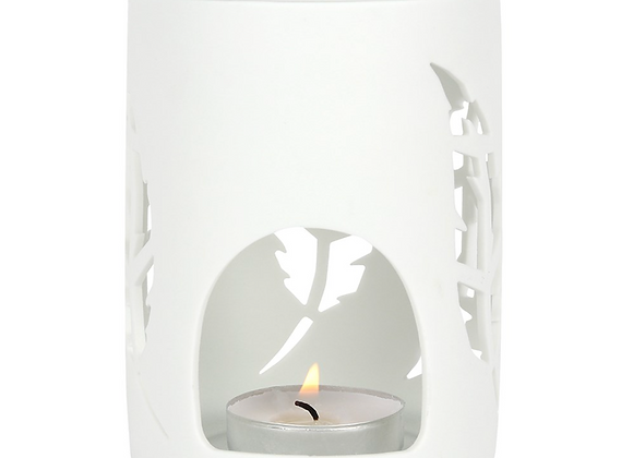 White Ceramic Feather Cut-Out Wax Melt Oil Burner