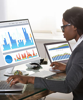 Young African Businesswoman Looking At Graphs On Computer In Office.jpg