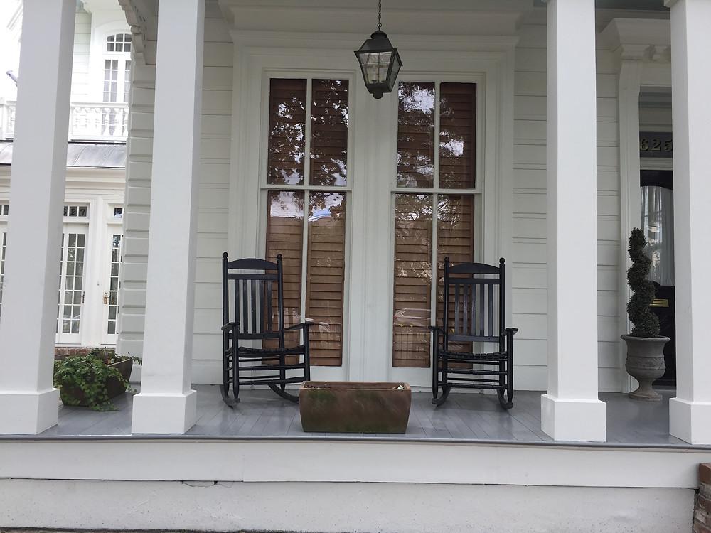 A Garden District home's porch