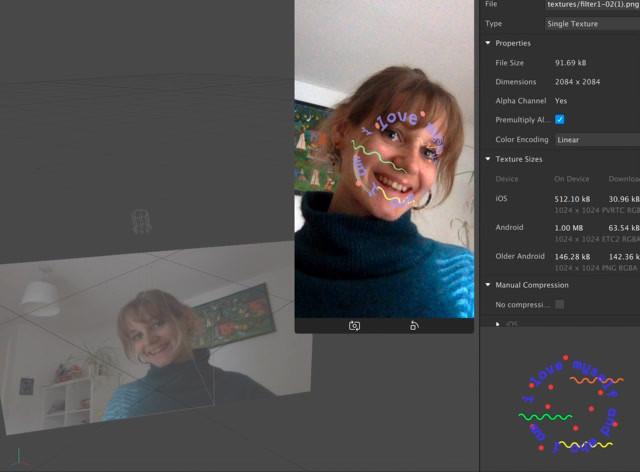 Testing face filter development