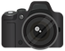 Realistic DSLR Camera Front View With Gr