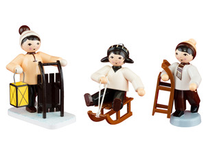 Kinder mit Schlitten 3tlg