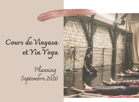 Planning cours de Yoga septembre
