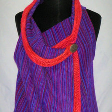 magenta turquoise knit trim vest
