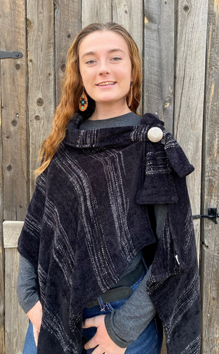 Side Tie Collared Poncho