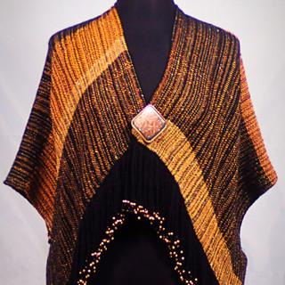 copper black beaded kimono