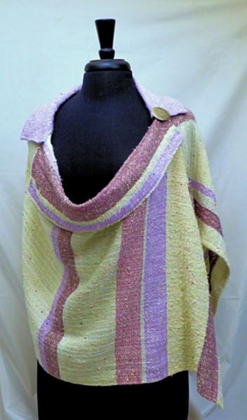 white lavender collared poncho