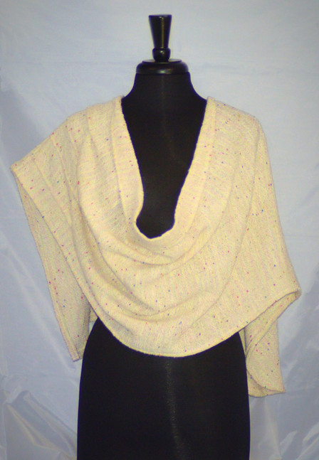 white pleated poncho