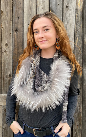 Triangle Tie Scarf with Detachable Fur Trim