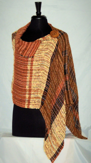 Earthtone collared poncho