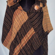 Copper black hooded Crossover Poncho_edi