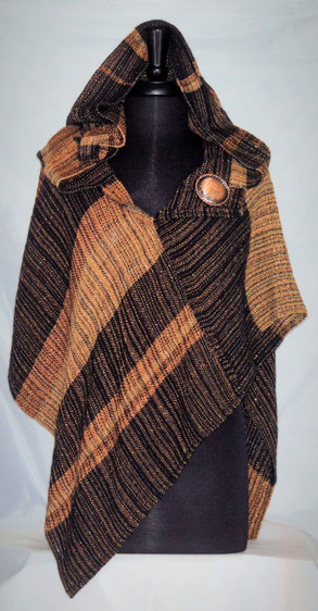 Copper black hooded Crossover Poncho