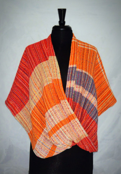 red orange mobius poncho