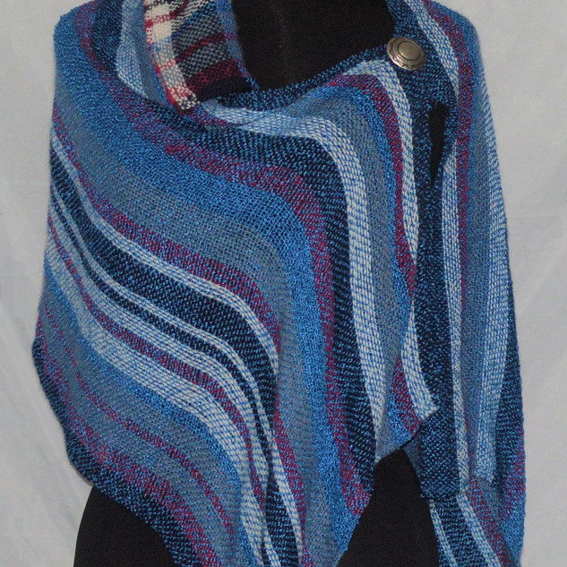 blue red collared poncho