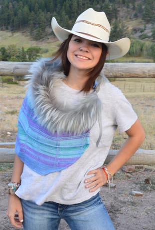 Silk Scarf with Detachable Fur Trim