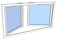 Vindu 2-rams utadslående med rømningspos
